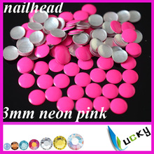 2014 new design hotfix nailheads neon pink color HOT-FIX iron on rhinestuds