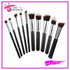 2014 hottest 10pcs kabuki makeup brush set two tone vegan hair