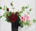 Bordado natural rose chiffon flor de tecido, toque natural de flores artificiais para atacado