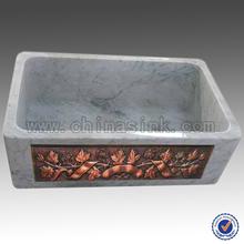 durável em mármore carrara branco cobre frente única tigela pia de pedra fazenda