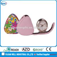 Customized Fancy PU leather alarm clock wholesale