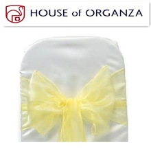 2014 Beautiful Wedding Organza Chair Sash for Chair Cover Yellow