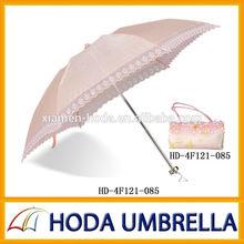 Luxurious 4 folding sunlight lace umbrella with nice handbag