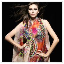 Customized women fashion long silk custom printed scarf (140*200cm)
