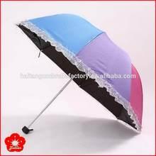 Good quality antique 3 fold ladies color changing umbrella