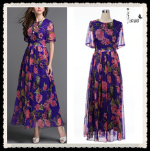 2014 Top Brand Floral Printing Gown Dress 100% Silk Evening Dress China