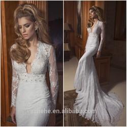 JM.Bridals CY3031 Sexy Mermaid deep v neck Beaded Lace sleeves 2014 wedding dress long tail