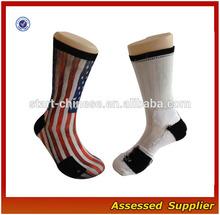 2014 Custom USA Flag Sublimated Basketball Sock/Wholesale Elite Blank Sublimated Basketball Socks With US Flag Shell120