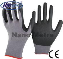 NMSAFETY 13 guage nylon coated black nitrile micro foam glove super quality