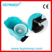 ISPINMOP 360 Rotating Head Easy Magic Floor Mop Bucket 2 Head Microfiber Spinning Blue
