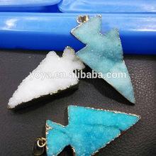 JF6536 Wholesale quartz druzy druzzy drusy arrowhead pendant