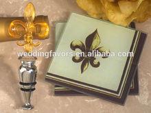 Art Deco Fleur De Lis Design Coaster and Bottle Stopper Set