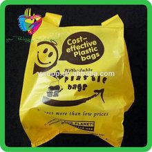Yiwu China printed reusable shopping plastic bag t-shirt
