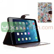 Elegance Flowers Pattern Wallet Foldable Case For iPad mini 2 Leather Case