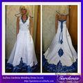 Alta qualidade Hot Sale A linha de Halter Neck Real Pictures bordado azul Royal e branco vestidos de casamento ( ZX945 )