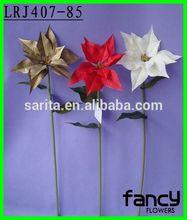 Single stem pu wholesale artificial poinsettia flowers