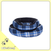 check blue Polar fleece round dog bed/Dog beds with removable cushion