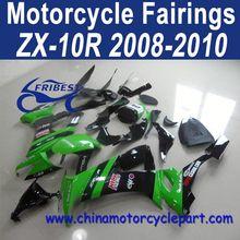 Factory Direct Sales 2008-2010 For Kawasaki Zx10r Motorcycle Bodycowl Green Black Kick FFKKA013
