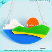 Wholesale 2014 New arrival acrylic necklace,fashionable acrylic boat necklace