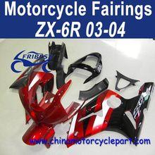 Retail 03 04 For Kawasaki ninja zx6r Fairing Kit Red Black FFKKA004