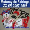 Custom Design 2007-2008 For Kawasaki Zx6r ABS Motorcycle Fairing Set Red And White FFKKA006