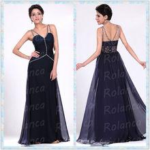Beautiful purple crystal a-line ruffle spaghetti strap evening dress mature dress sexy dress Rolanca CXL2725