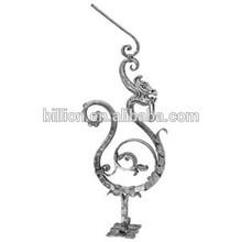 ornamental iron dargon newel post sand blasting