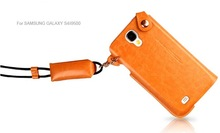 hot!Hand Wrist Neck Strap Lanyard PU Leather Case for samsung s4 cover