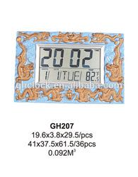 12 Inches LCD clock with Plastic case, alarm clock, digital clock