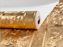 Glitter fabric wallpaper Vinyl wallpaper price supplier home hotel decoration manufacture murals golden Wallpaper flower