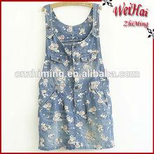 2015year girls flower printed denim dress two chest pockets flaps