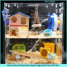 Custom 2 tier large clear acrylic pet box for birds