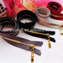 Luxury garmet accessories golden teeth metal brass zipper