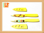 yellow plastic handle stainless steel peeling knife with sheath