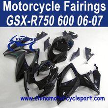 Retail 06 07 For Suzuki GSXR 750 GSXR 600 Motorcycle Fairings All Black No Decals FFKSU004