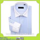 wholesale cotton npolyester blue white stripe men shirt for business