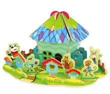 Wholesale kids wooden DIY 3D Post office model toy in China