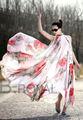 2014 estate nuovo maternità bohemien vestito le donne in gravidanza senza maniche plus size volant collare floreale abito lungo in chiffon vestito sciolto
