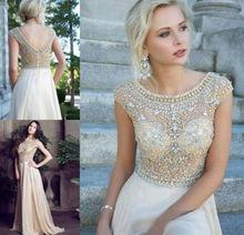 2014 Luxury Rhinestone Crystal Beading Cap Sleeve Formal Evening Prom Dresses