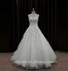 Transparent Neckline Lace Squins Sexy Low Back Long Trail Saudi Arabian Wedding Dress