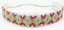 New Custom Bling Rhinestone Bohemian Pattern Seed Bead Elastic Stretch Headband