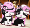 3D Cute Cartoon Bull dog Silicone lovers phone case for iphone 4 4S 5 5S and Samsung note2 note3