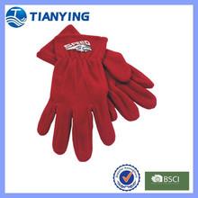 red winter sport polar fleece gloves