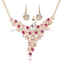 2014Hot sale colorful rhinestone peacock elegant wedding necklace