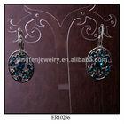 Shining Blue Crystal Ball Earrings Vintage Drop Earring