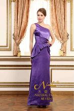 Hot sale style!2014 new design sloping shoulder floor length purple evening dress and long Distinctive waist design prom dress