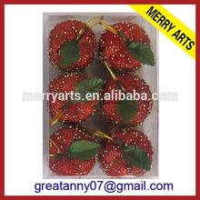 China supplier hot new extra large glitter styrofoam christmas decorative apple balls