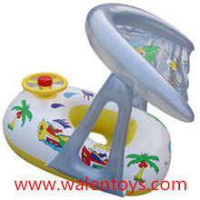 Inflatable Toddler Baby Swim Ring Float Seat Swimming Pool Seat with Canopy