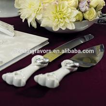 Stylized Heart & Wedding Bands Cake Serving Set