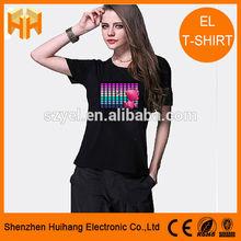 EL Flashing T-Shirt,Custom Logo Equalizer EL T-Shirt,High Brightness EL Sound Activated T-Shirt